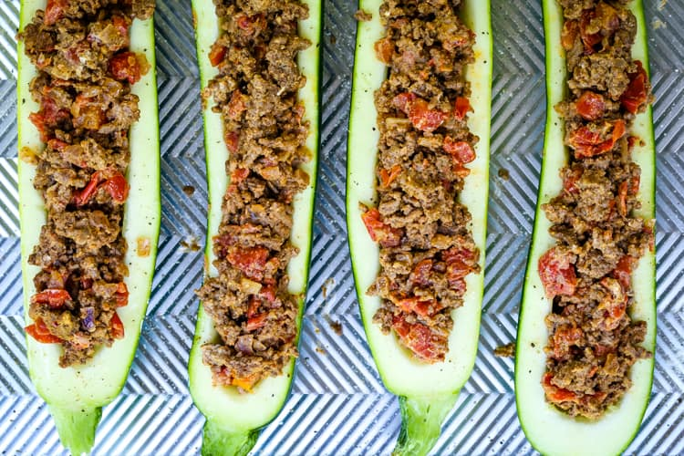 Beeft Taco Zucchini Boats are stuffed with taco flavored beef