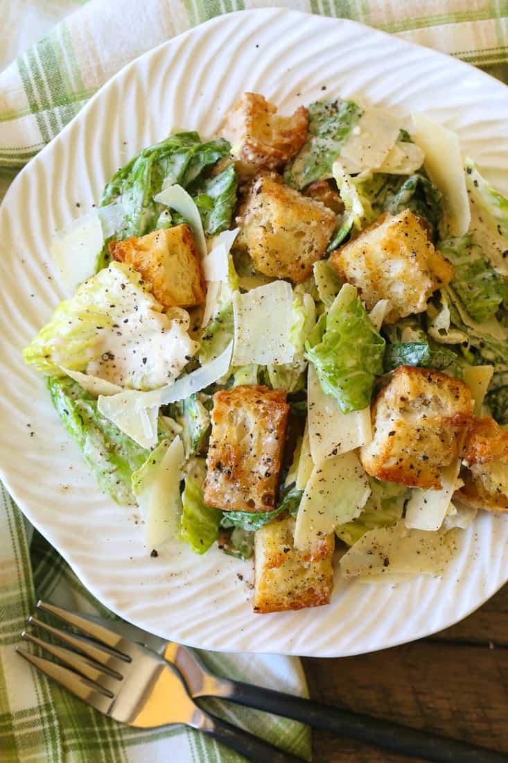 Creamy Caesar Dressing for a homemade Caesar Salad recipe