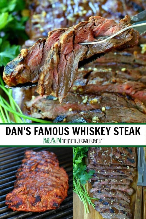 Dan's Famous Whiskey Steak is a flank steeak recipe that has been marinated