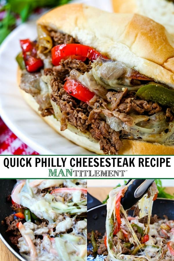Quick Philly Cheesesteak Recipe collage for Pinterest