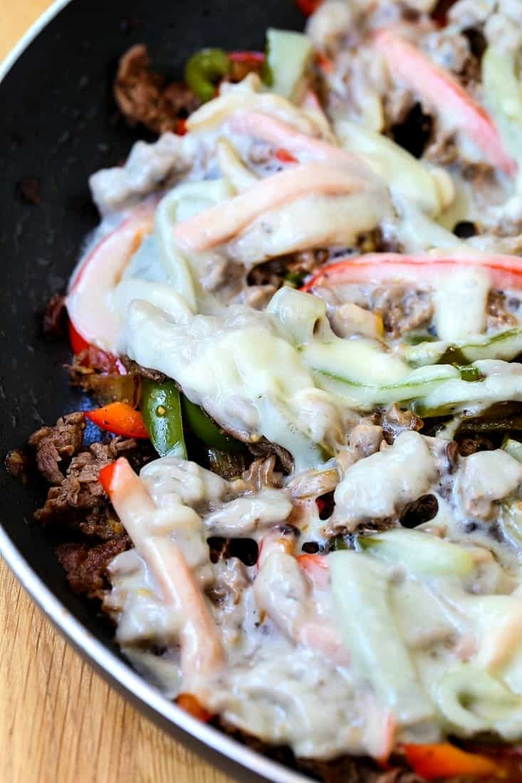 Quick Philly Cheesesteak Recipe is a one skillet recipe that is ready in less than 30 minutes