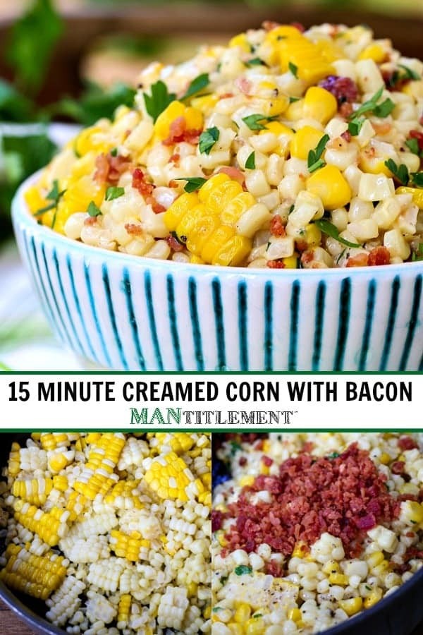 creamed corn with bacon collage for pinterest