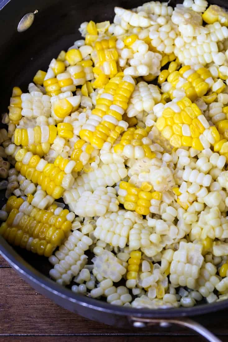 corn cut from the cob in a skillet