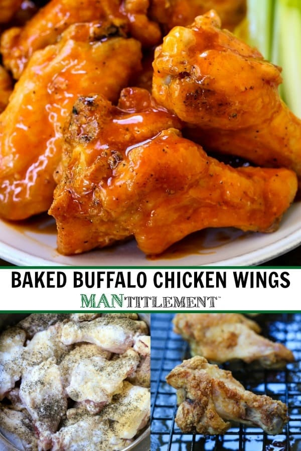 baked buffalo chicken wings collage for pinterest