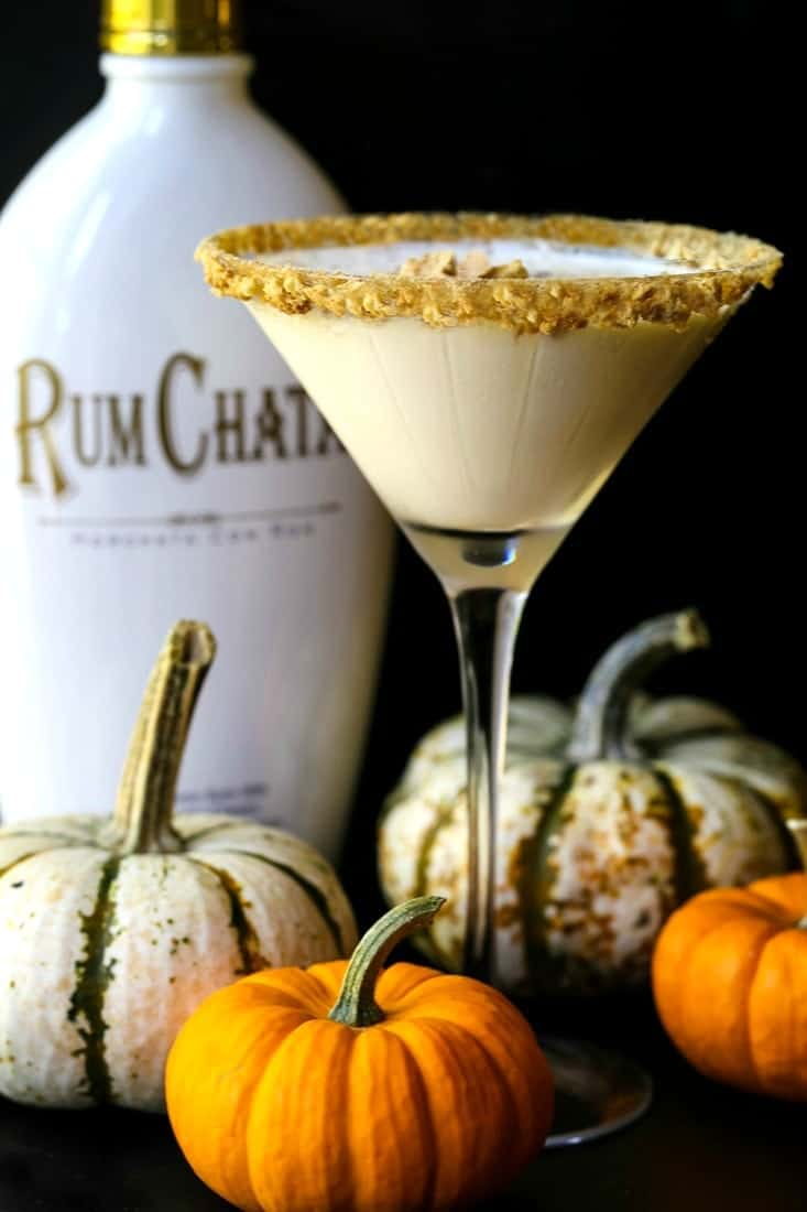 pumpkin cheesecake martini with a Rumchata bottle