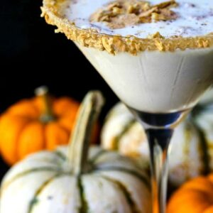 rumchata pumpkin cheesecake martini with graham crackers on top