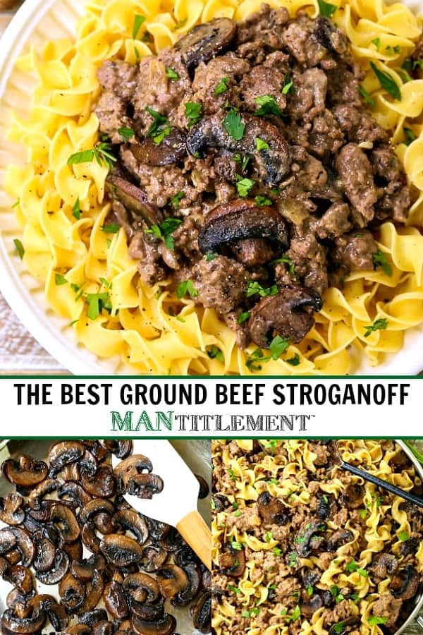 beef stroganoff collage of picture for pinterest