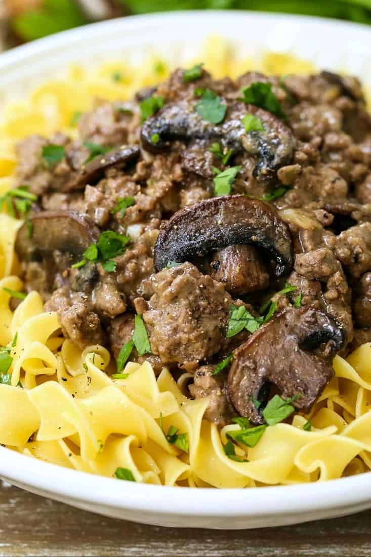 ground beef stroganoff over noodles