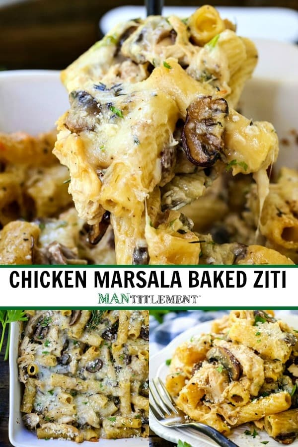 chicken marsala baked ziti collage for pinterest