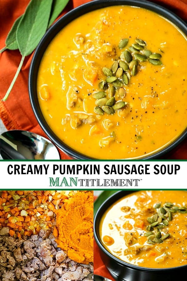 creamy pumpkin sausage soup collage for pinterest