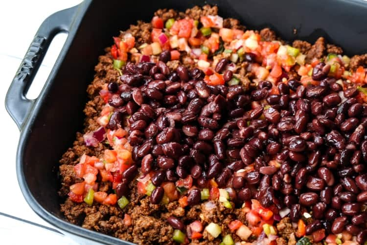 taco casserole with beef, beans and fresh salsa