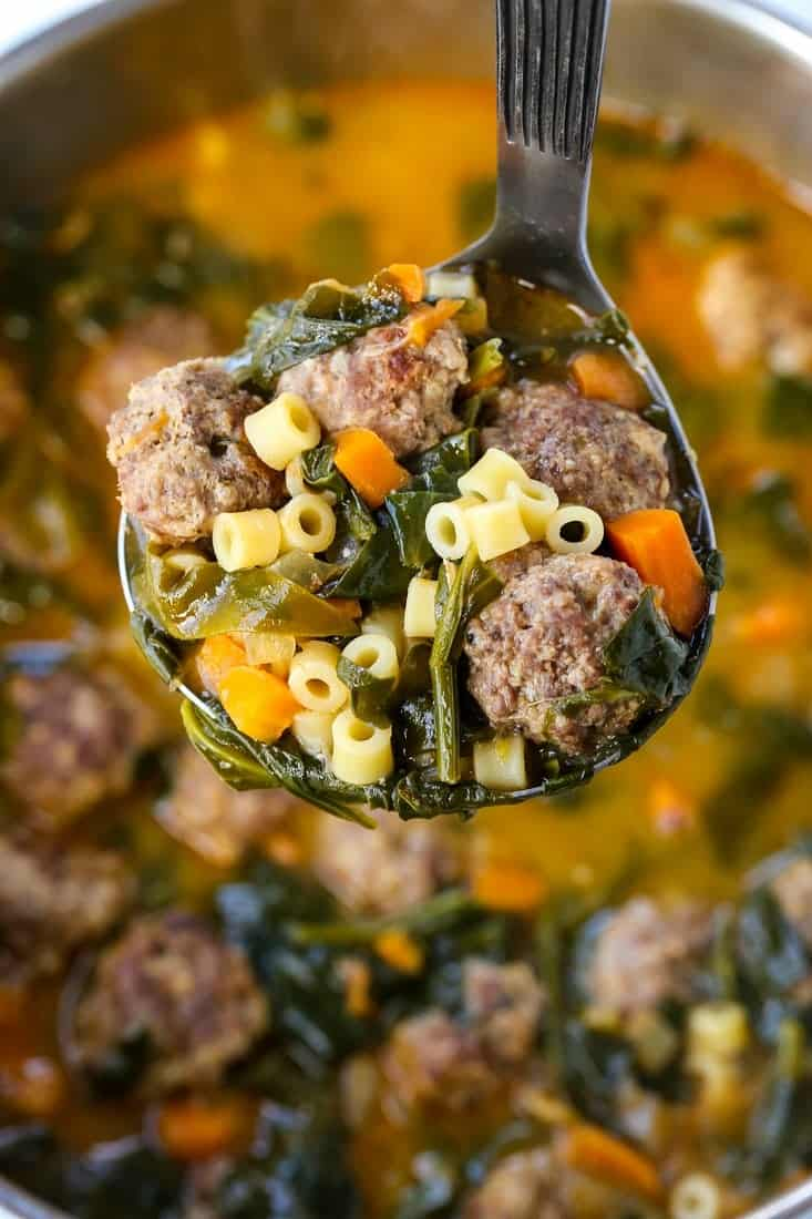 italian wedding soup is a soup recipe with meatballs, vegetables and pasta