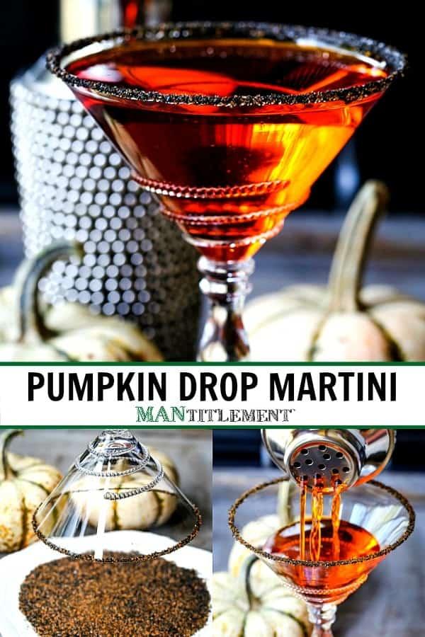 pumpkin drop martini recipe collage for pinterest