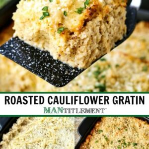 parmesan roasted cauliflower gratin collage for pinterest