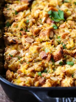 pineapple stuffing recipe in a black baking dish