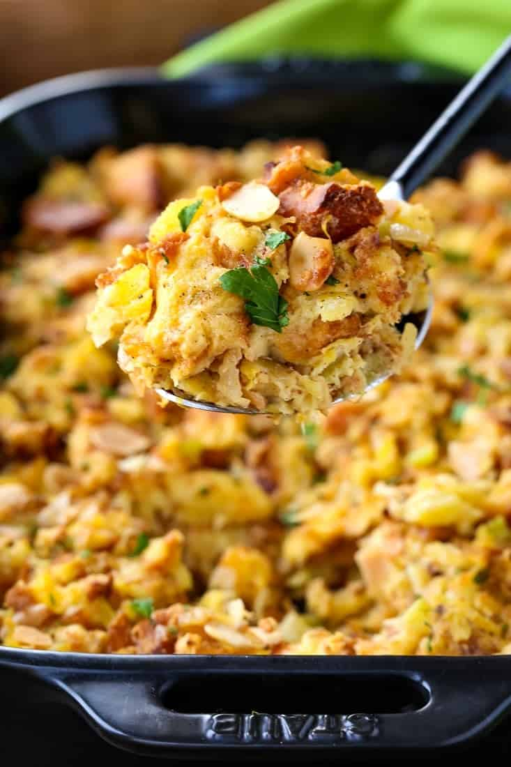 seriously delicious pineapple stuffing recipe on a serving spoon