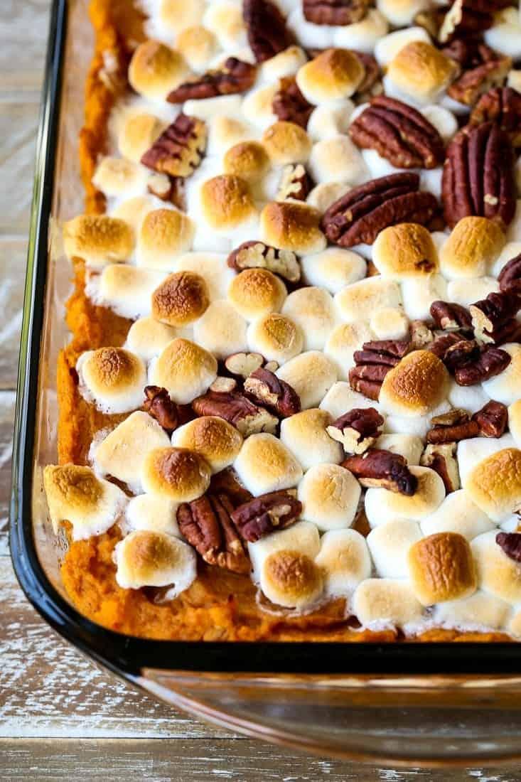 bourbon sweet potato casserole in a clear baking dish