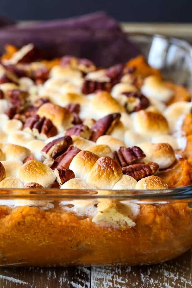 sweet potato casserole with marshmallows on top