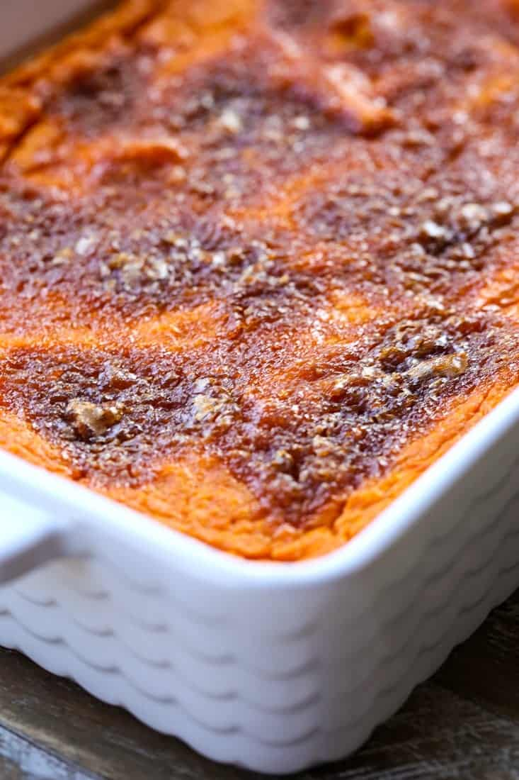 Carrot Soufflé with brown sugar on top