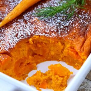 carrot souffle recipe with scoop taken out