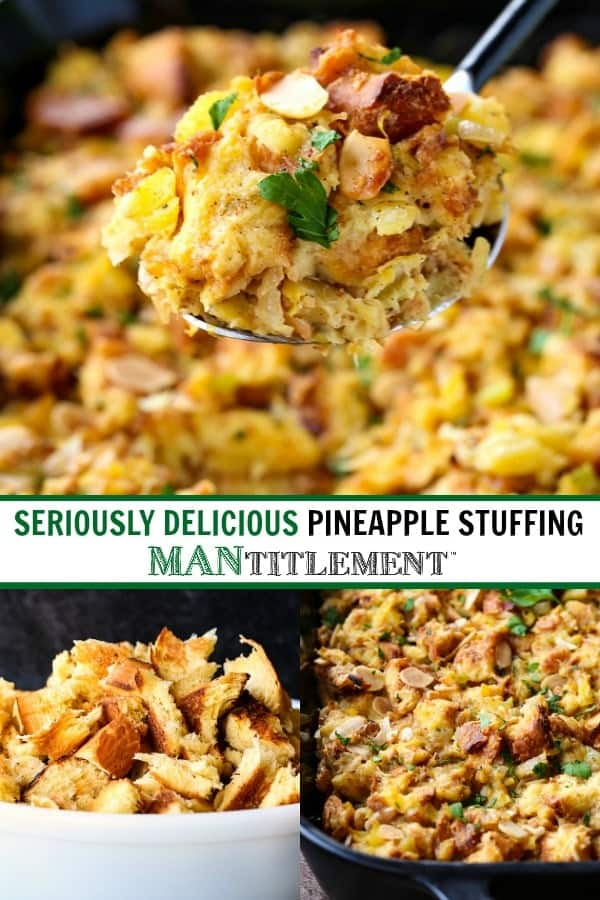 pineapple stuffing recipe collage for pinterest