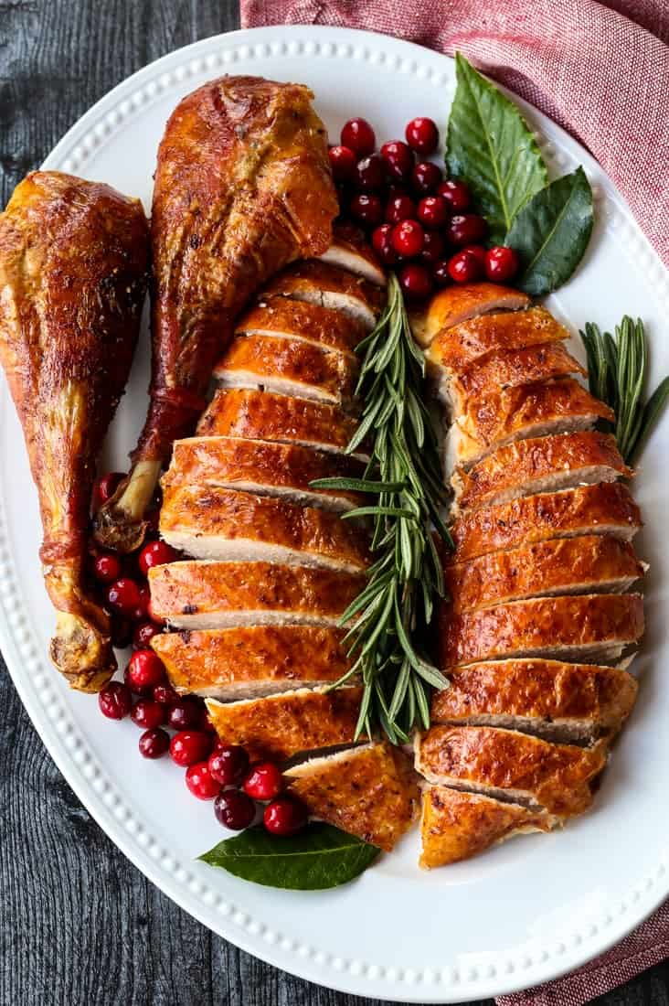 Simple Roast Turkey Recipe sliced on a platter with turkey legs
