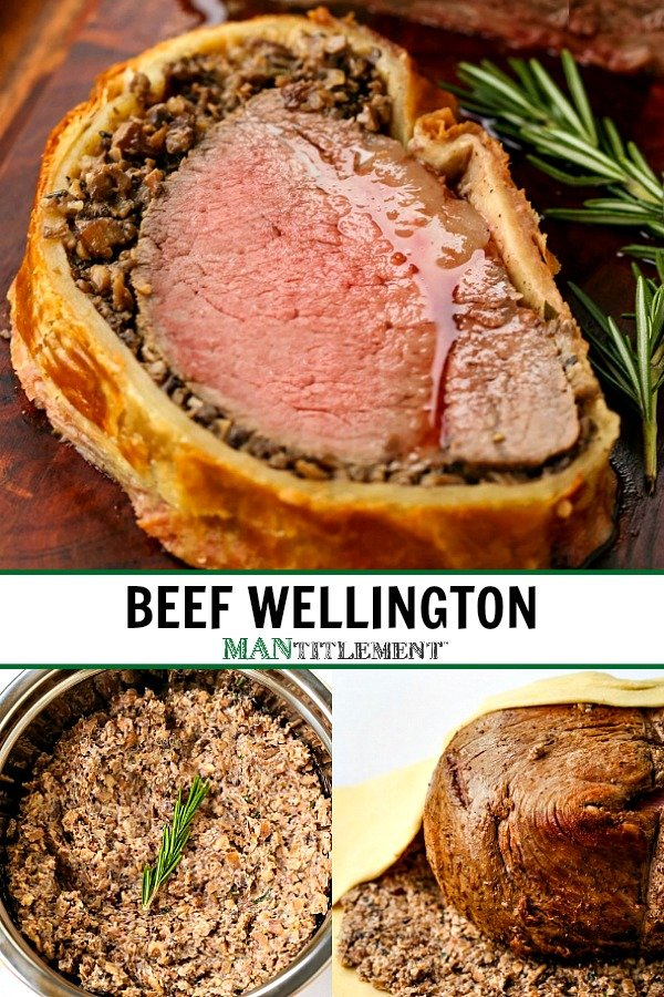 beef wellington picture collage for pinterest
