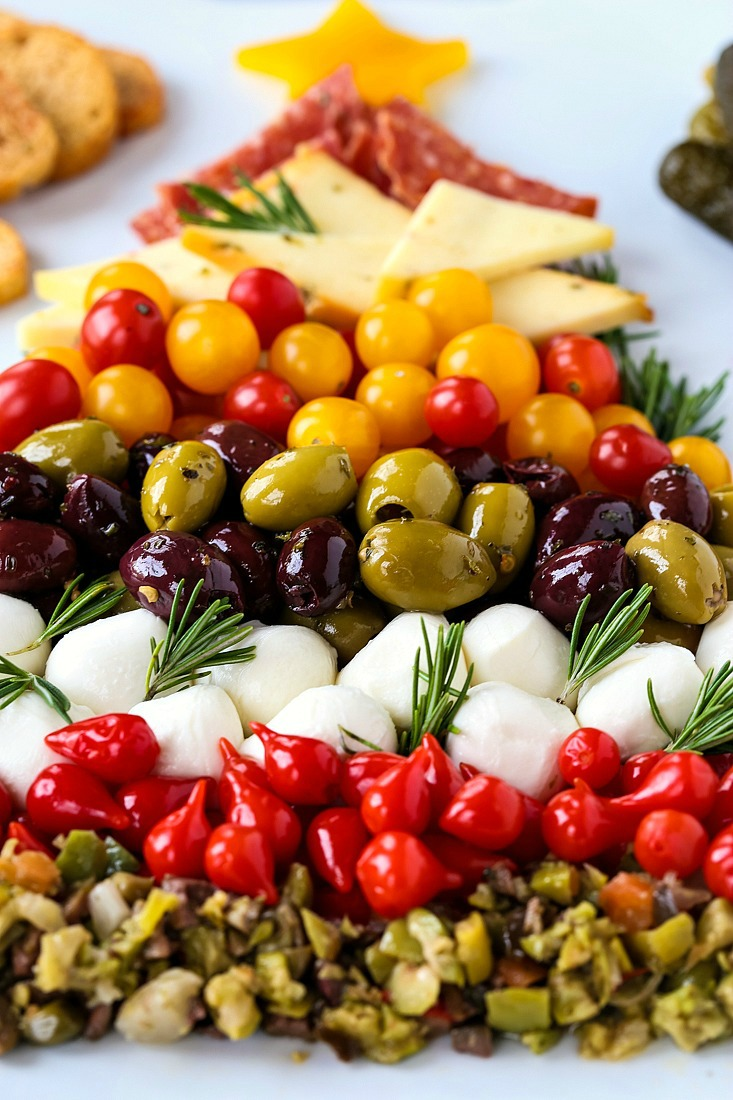 Christmas antipasto platter in the shape of a Christmas tree