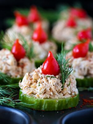 crab salad appetizers on a cucumber slice