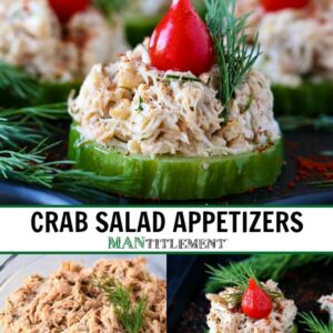 crab salad on top od a cucumber slice with a teardrop red pepper