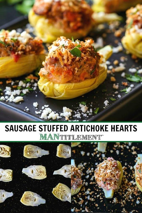 sausage stuffed artichoke hearts recipe for Pinterest