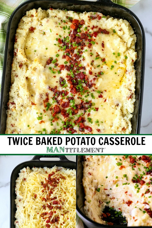 twice baked potato casserole collage for pinterest