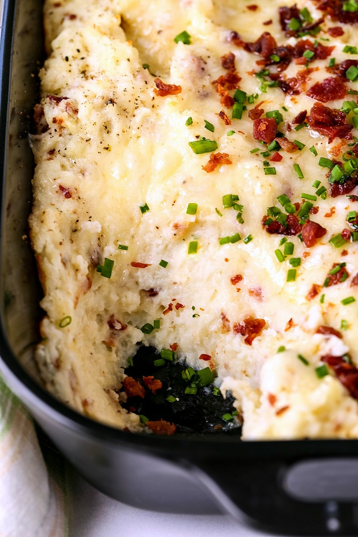 mashed potato casserole recipe with a scoop taken out