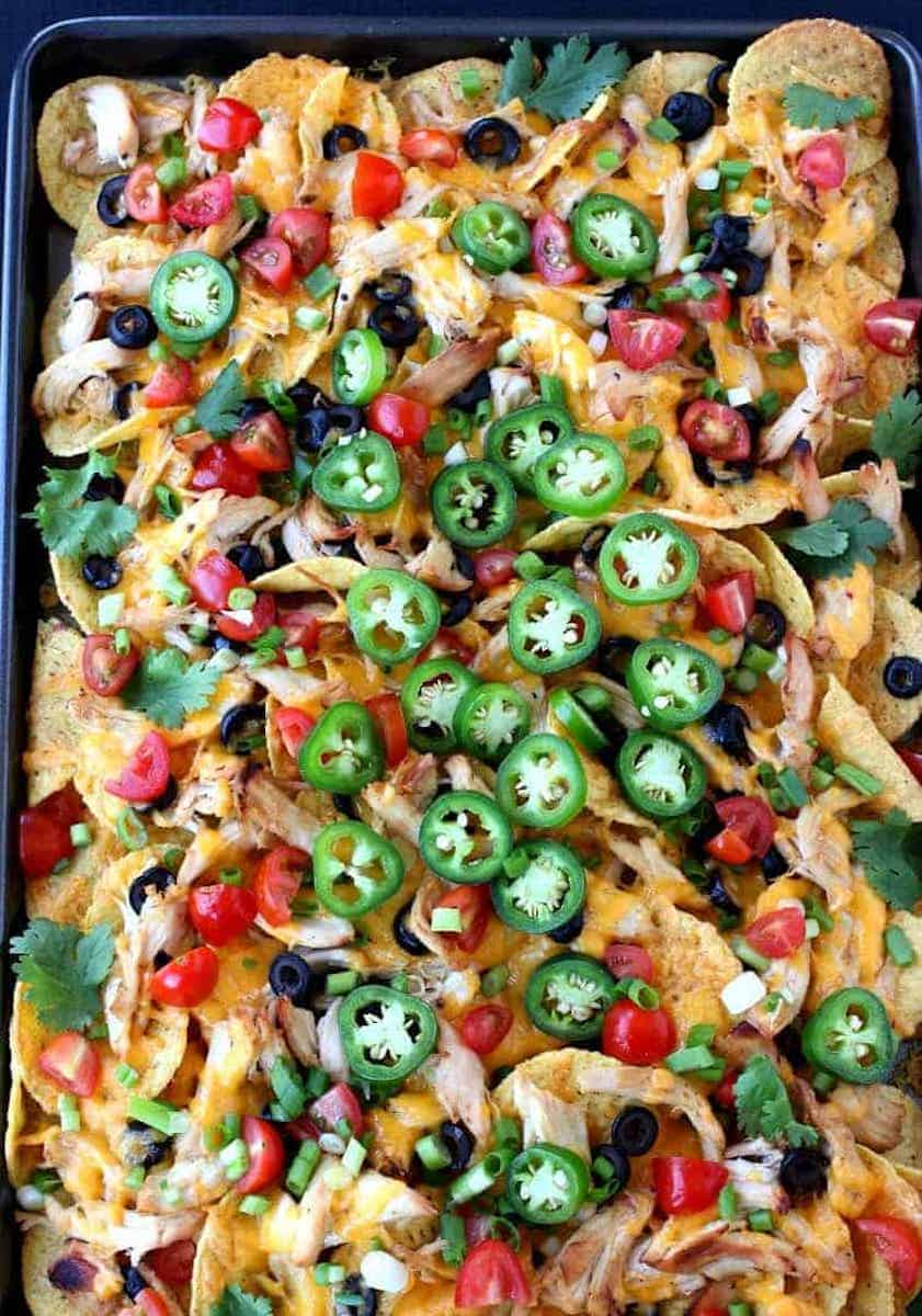 nacho recipe on a baking sheet
