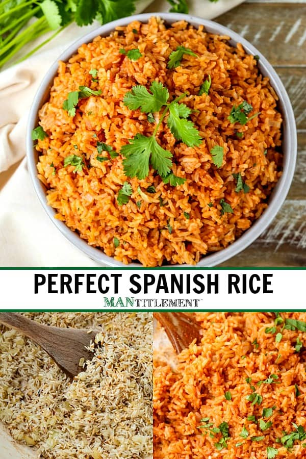 spanish rice recipe collage for pinterest