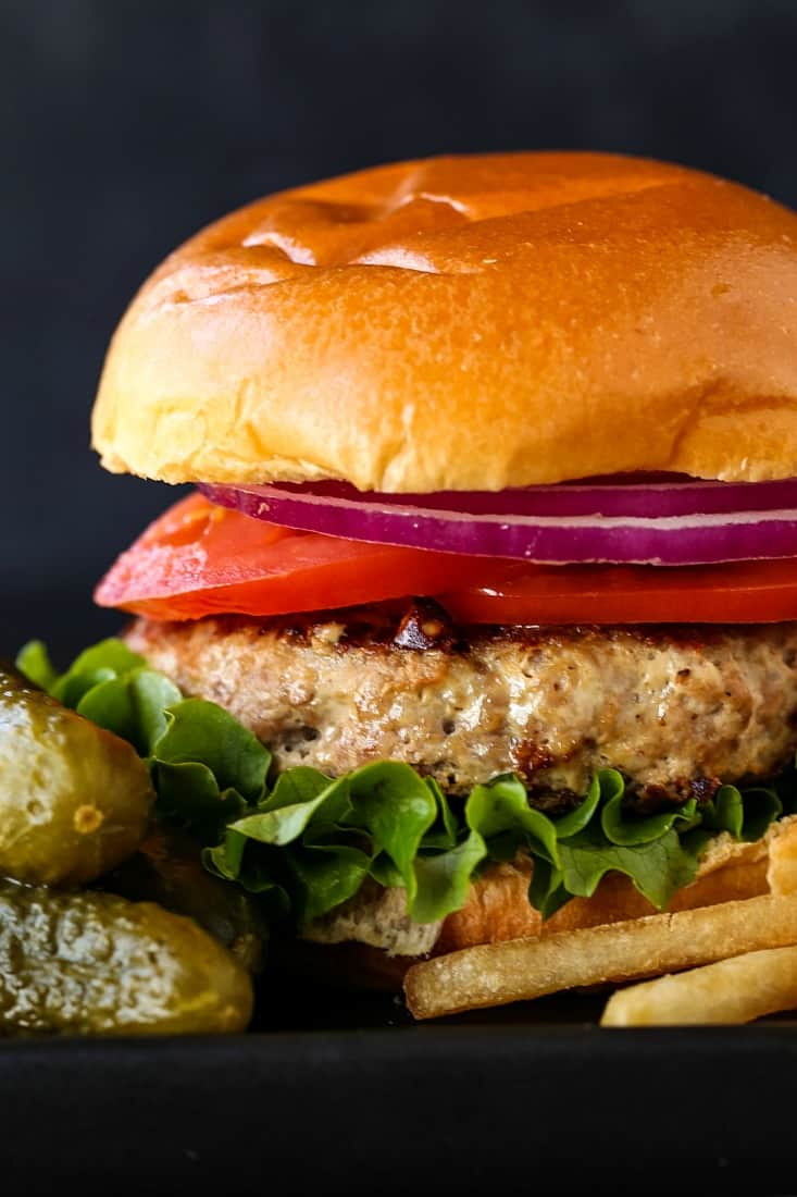 Turkey Burger recipe with lettuce, tomatoes and onions