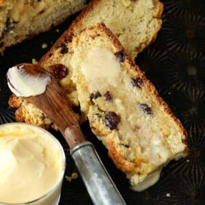 Irish Soda Bread cut with butter melting