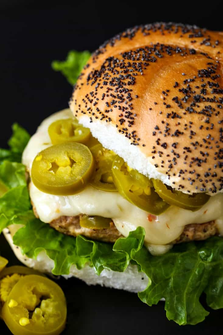 Turkey burger recipe with cheese and pickled jalapeños
