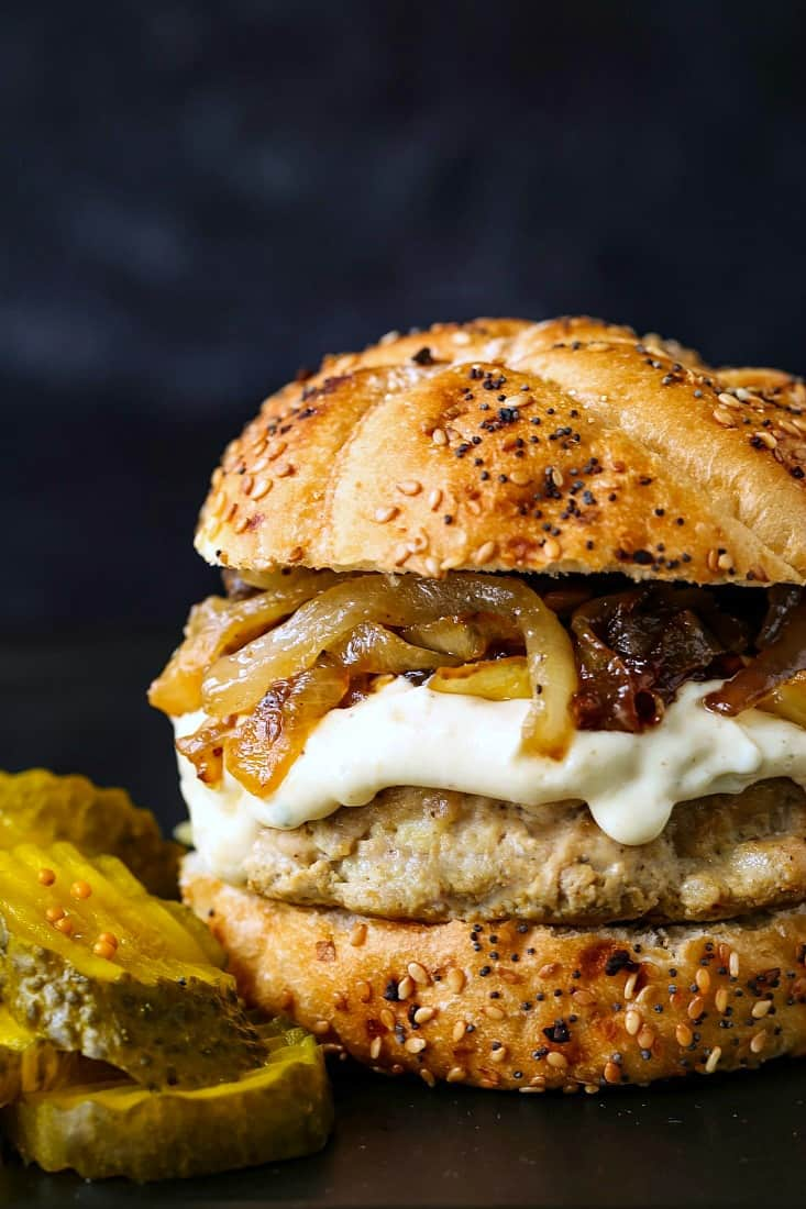 Next Level Turkey Burgers with Caramelized Onion & Aioli are an over the top turkey burger recipe