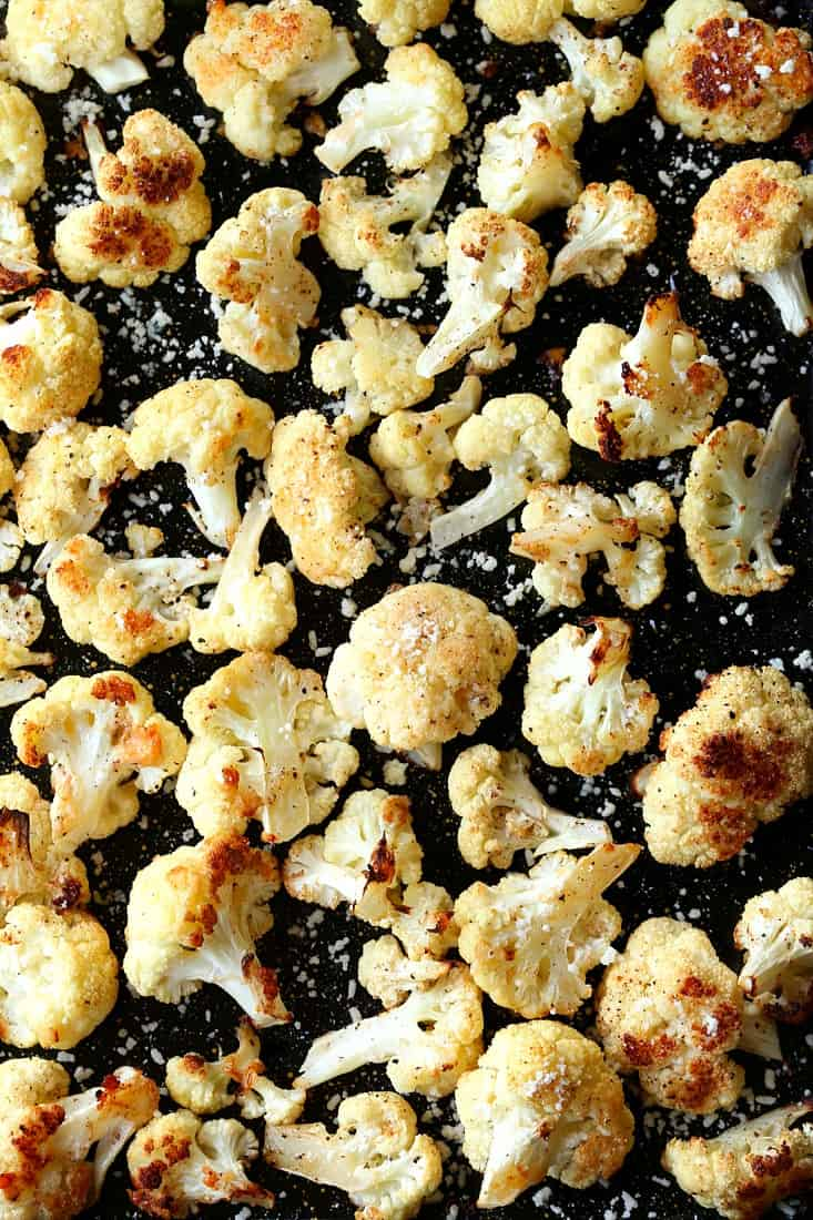 Parmesan Roasted Cauliflower on a sheet pan