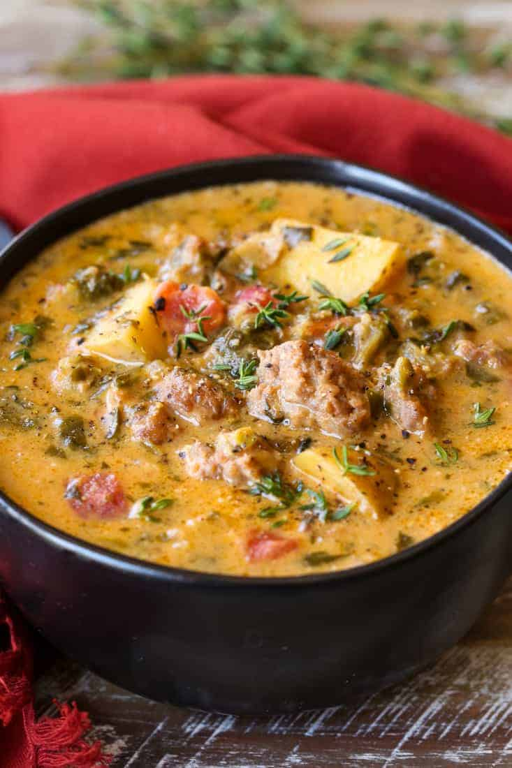 Creamy Potato Soup with Italian Sausage is a comfort food recipe