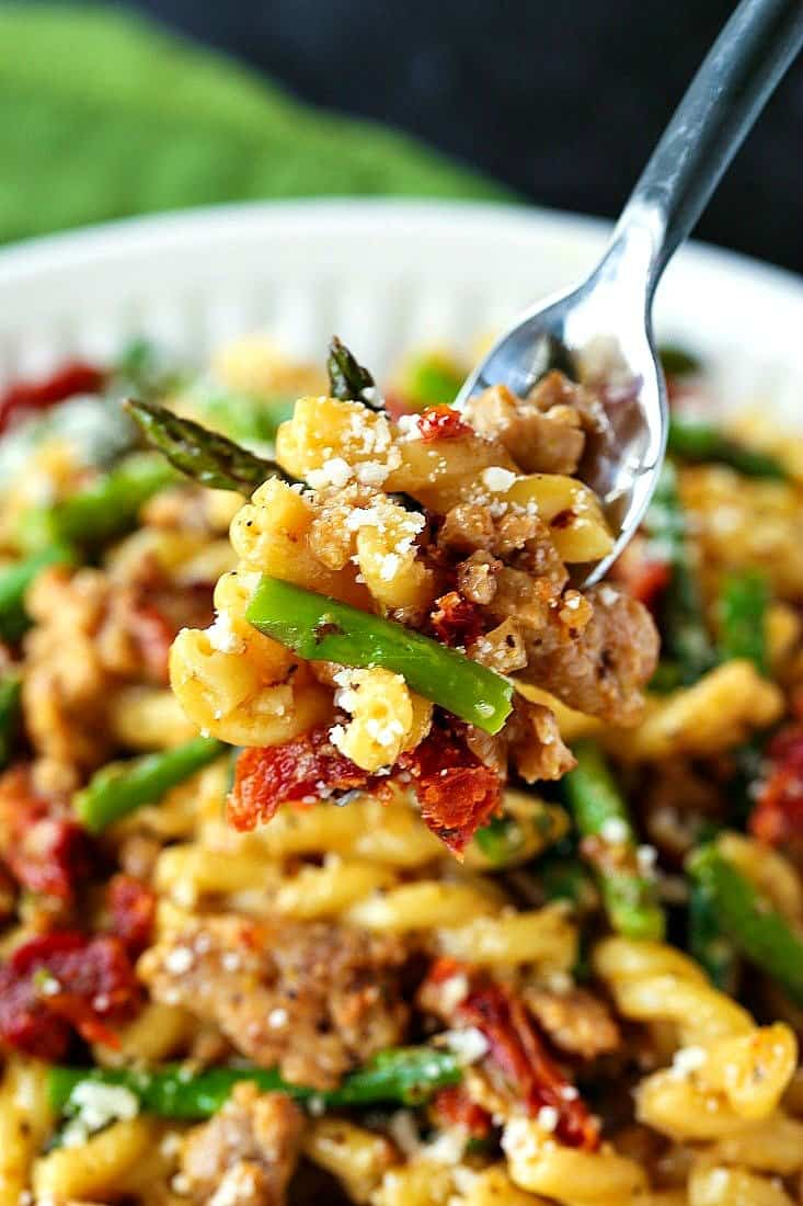 Gemelli with Sausage and Asparagus recipe on a fork