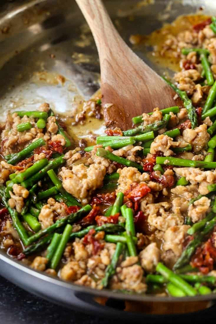 Italian sausage and fresh asparagus to make Gemelli with Sausage and Asparagus recipe