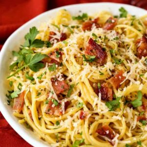 Pasta Carbonara with bacon and parmesan cheese