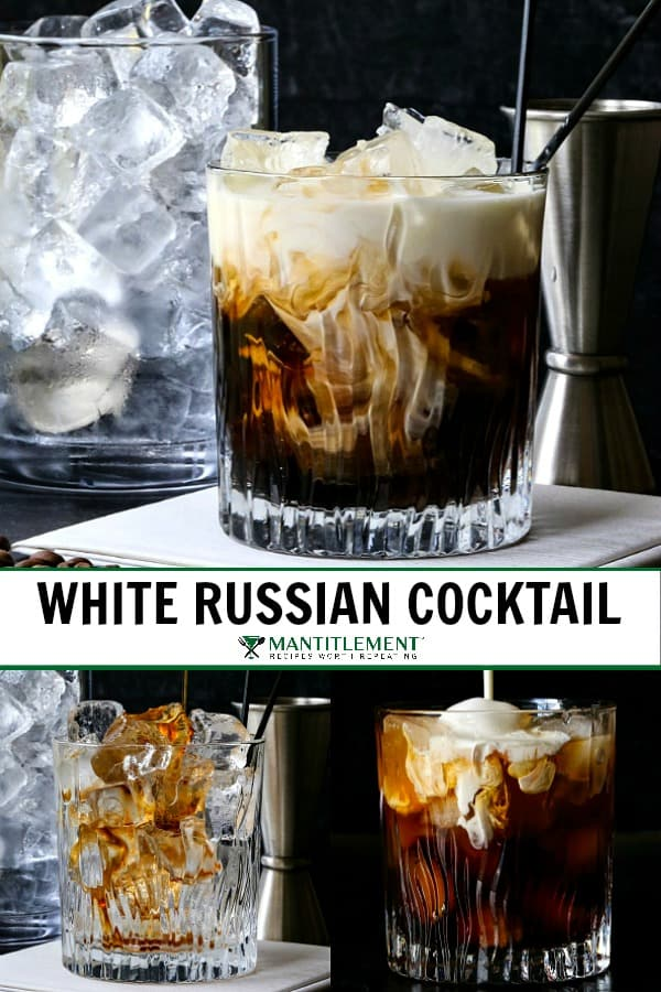 white russian cocktail collage for pinterest
