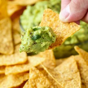 Homemade Guacamole on a tortilla chip