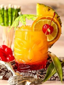 A Mai Tai drink with garnish