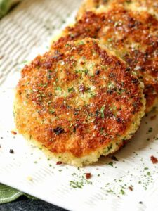 Potato cake recipe on a white platter
