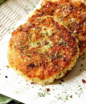 Potato cake recipe on a white platter