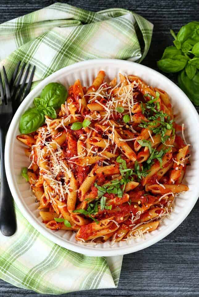 Pasta Arrabbiata in a bowl with forks